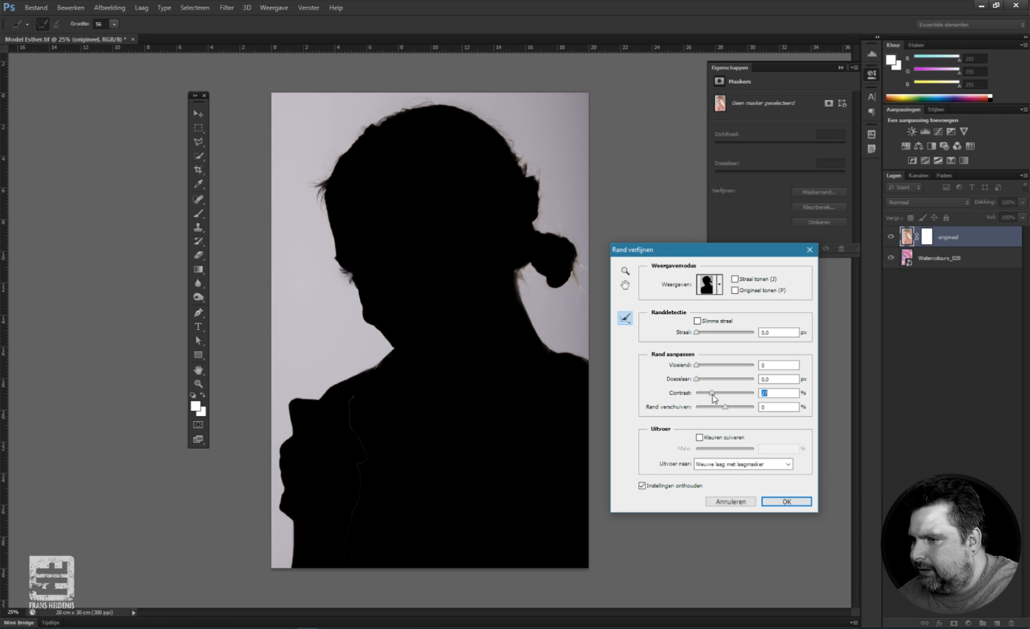 Screenshot van Les 3 - Lagen en maskers. Nederlandstalige online Photoshop workshop.
