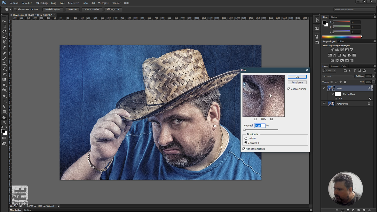 Screenshot van Les 8 - Gratis bonus les. Nederlandstalige online Photoshop workshop.
