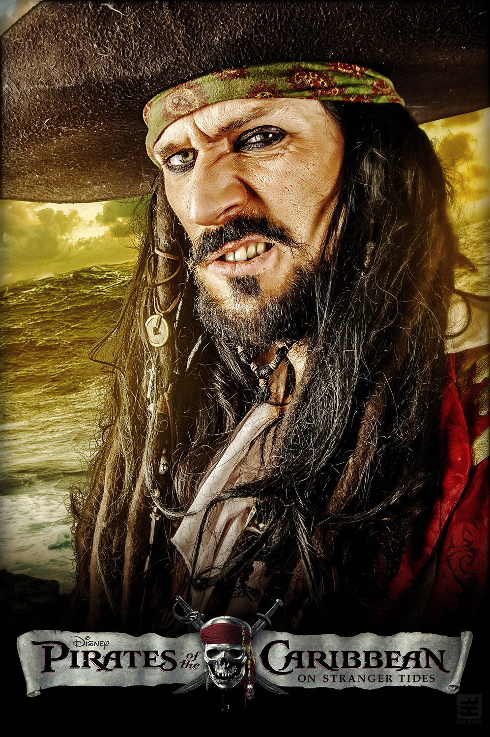 Captain Teague Cosplay. Portret van Teague in poster stijl van de Pirates of the Caribean