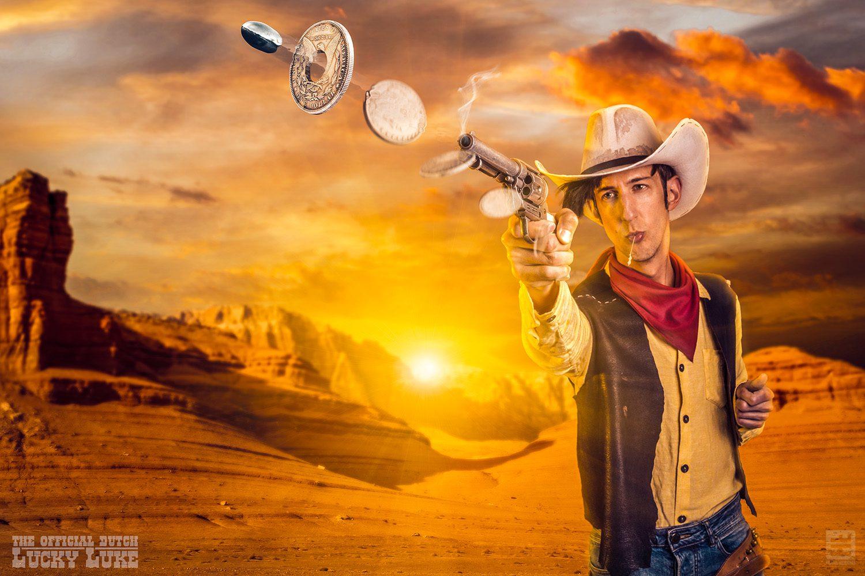 De echte Lucky Luke rolt schiet sneller dan zijn schaduw door de bekende zilveren Dollar