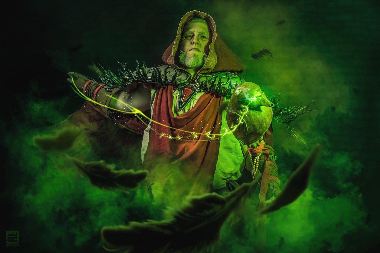 Medivh World Of Warcraft transformatie van raaf naar mens met magische effecten