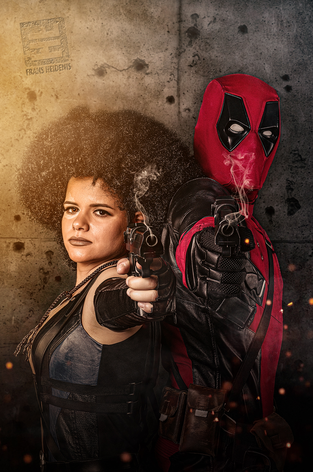 Cosplayers van en uit de film Deadpool 2