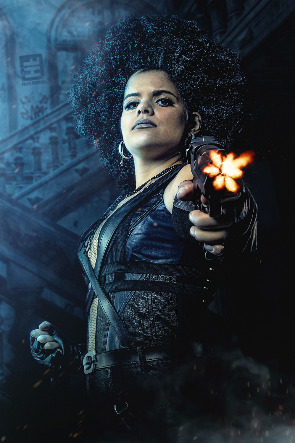 Domino Cosplayer van en uit de film Deadpool 2