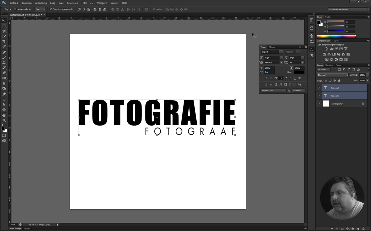 Screenshot van Les 6 - logo en een penseel maken. Nederlandstalige online Photoshop workshop.